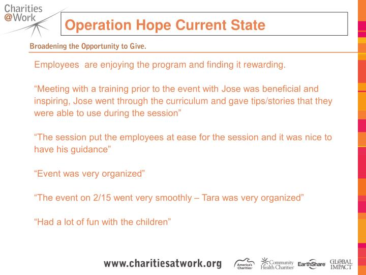 Operation Hope Current State