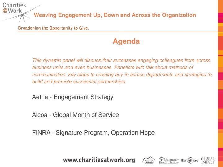 Weaving Engagement Up, Down and Across the Organization