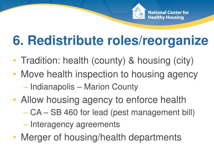 6. Redistribute roles/reorganize