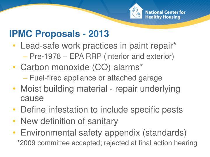 IPMC Proposals - 2013