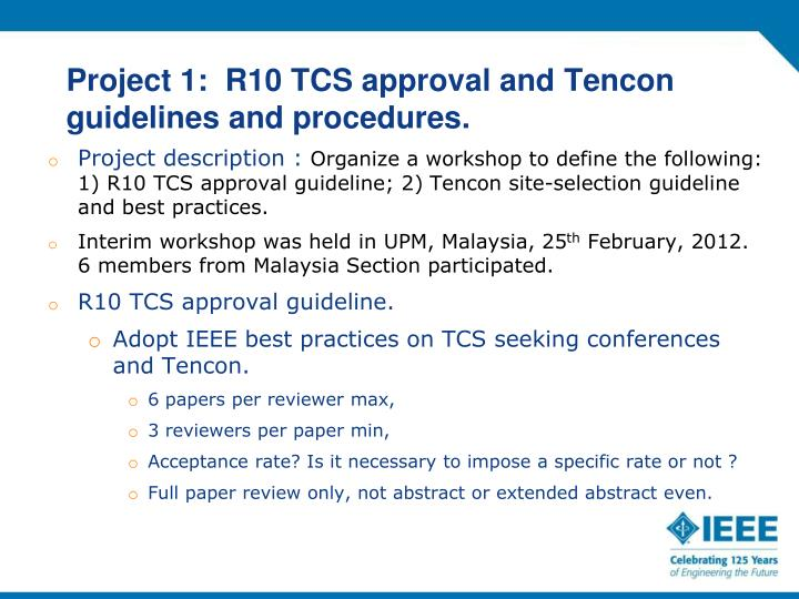 Project 1:  R10 TCS approval and
