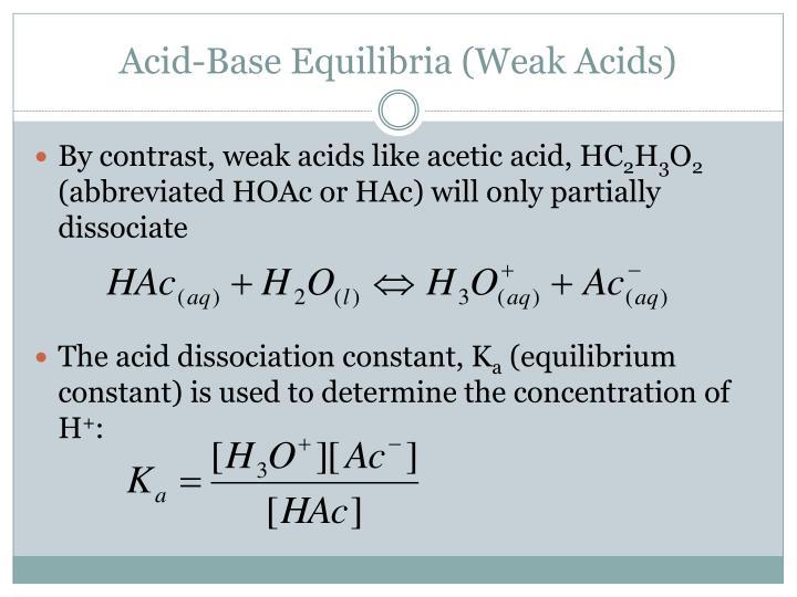 Acid-Base Equilibria (Weak Acids)