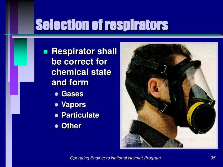 Selection of respirators