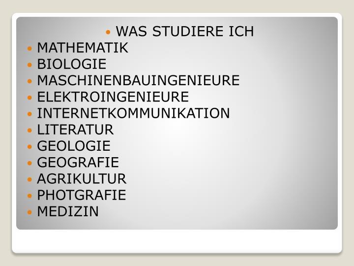WAS STUDIERE ICH