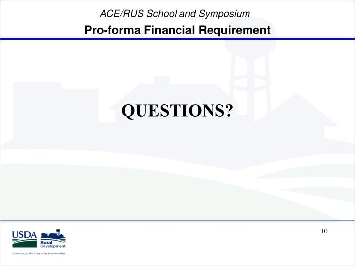 Pro-forma Financial Requirement