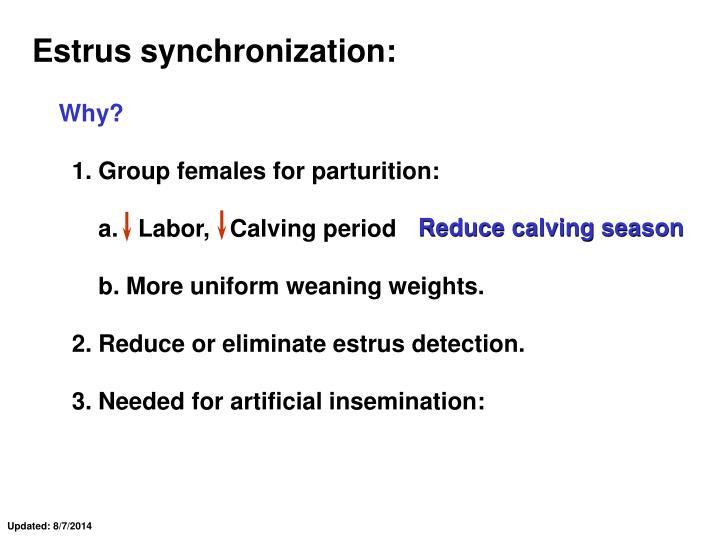 Estrus synchronization: