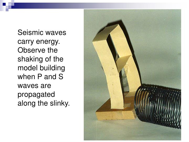 Seismic waves carry energy. Observe the shaking of the model building when P and S waves are propagated along the slinky.