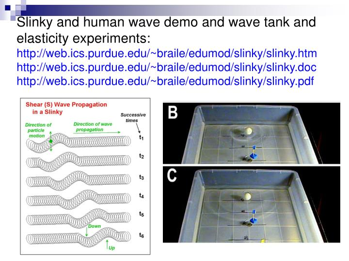 Slinky and human wave demo and wave tank and elasticity experiments:
