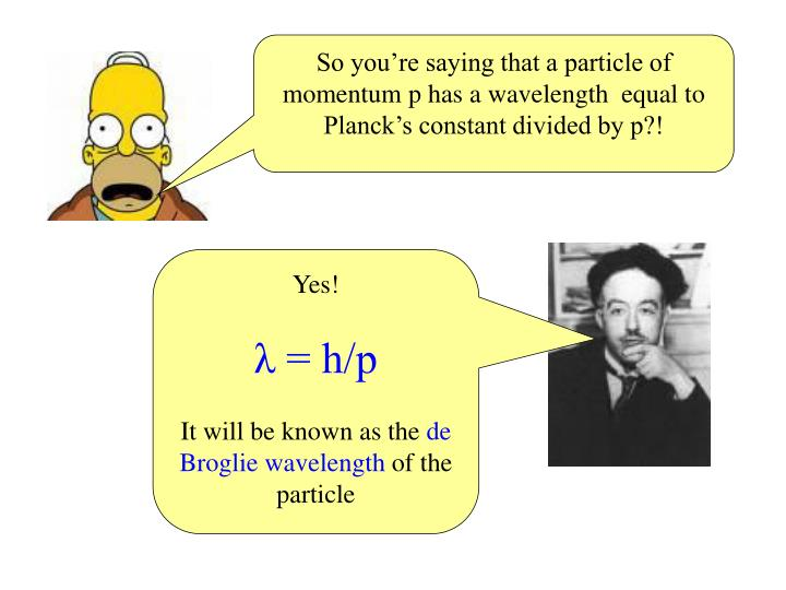 So you're saying that a particle of momentum p has a wavelength  equal to Planck's constant divided by p?!