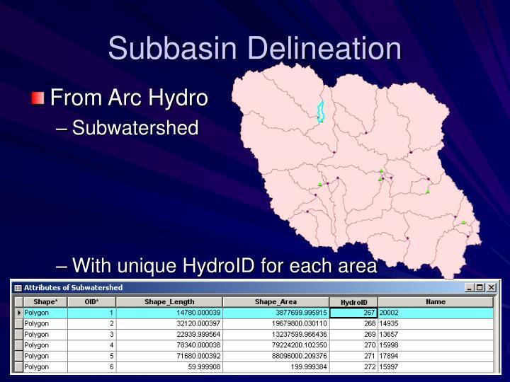 Subbasin Delineation