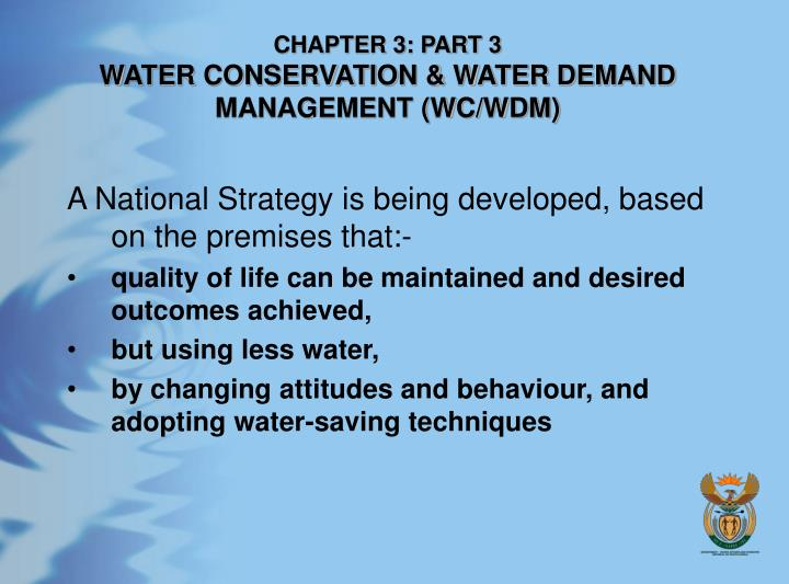 Chapter 3 part 3 water conservation water demand management wc wdm