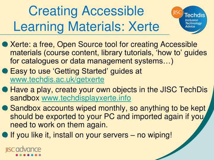 Creating Accessible Learning Materials: Xerte