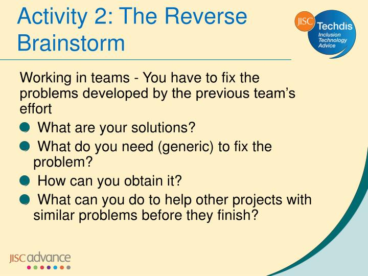Activity 2: The Reverse Brainstorm