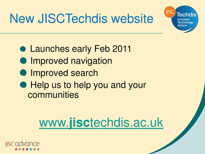 New JISCTechdis website