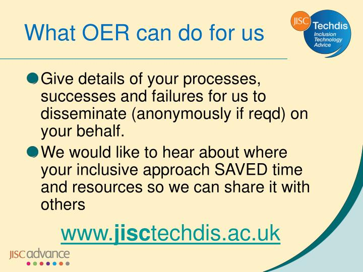 What OER can do for us