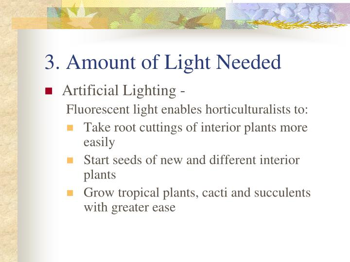 3. Amount of Light Needed