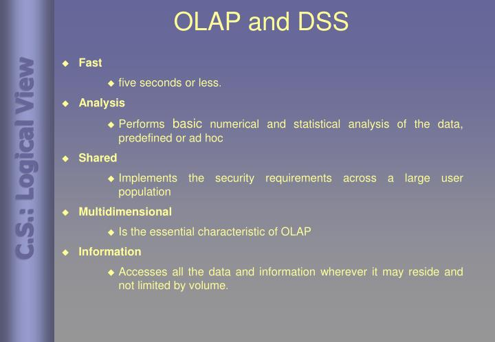 OLAP and DSS
