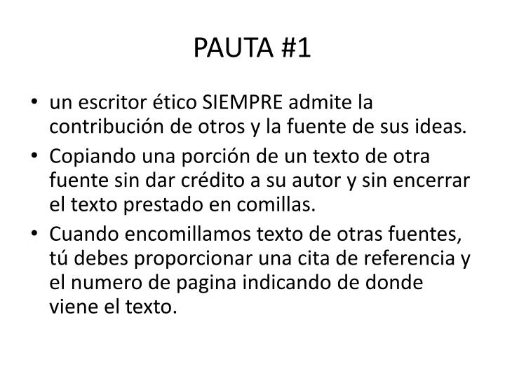 PAUTA #1