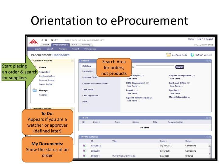 Orientation to eProcurement