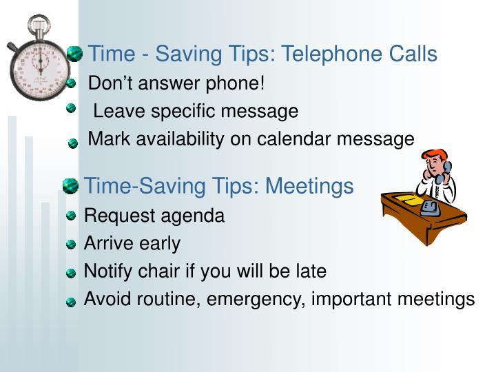Time - Saving Tips: Telephone Calls