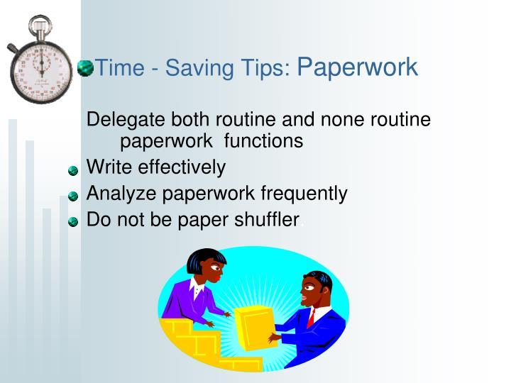 Time - Saving Tips: