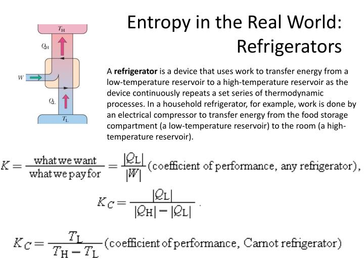 Entropy in the real world refrigerators