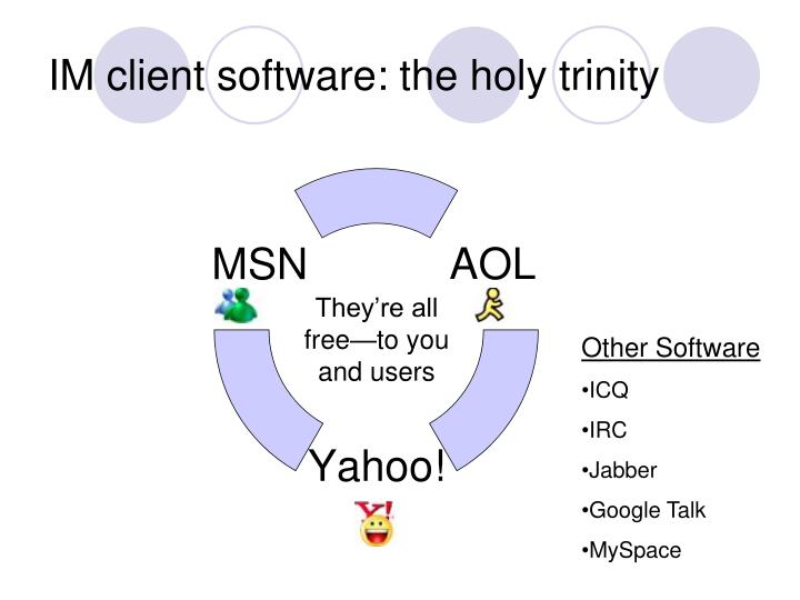 IM client software: the holy trinity