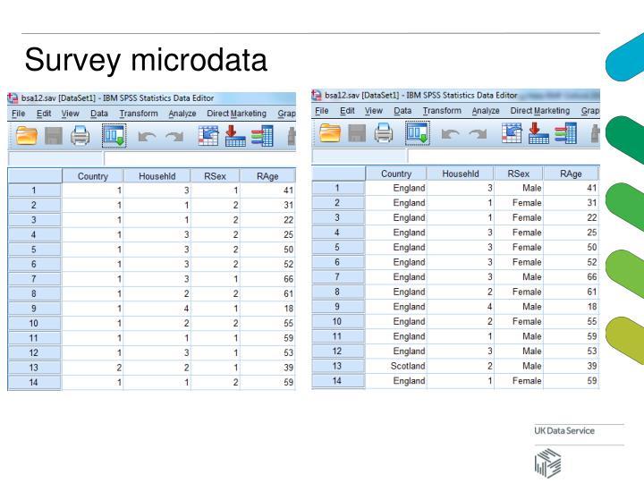 Survey microdata