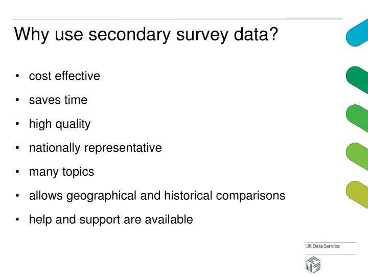 Why use secondary survey data?