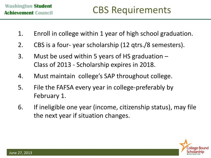 CBS Requirements