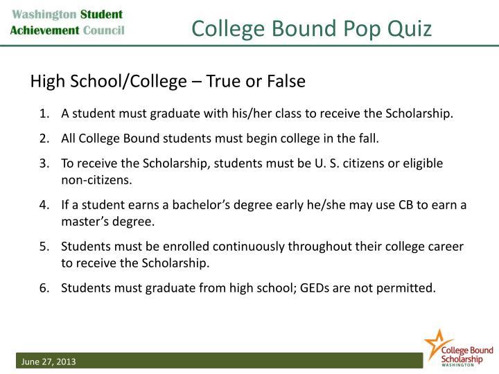 College Bound Pop Quiz
