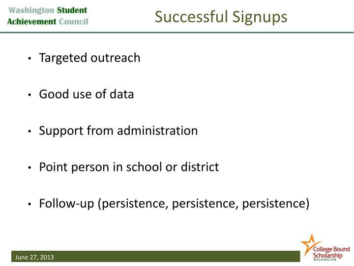 Successful Signups