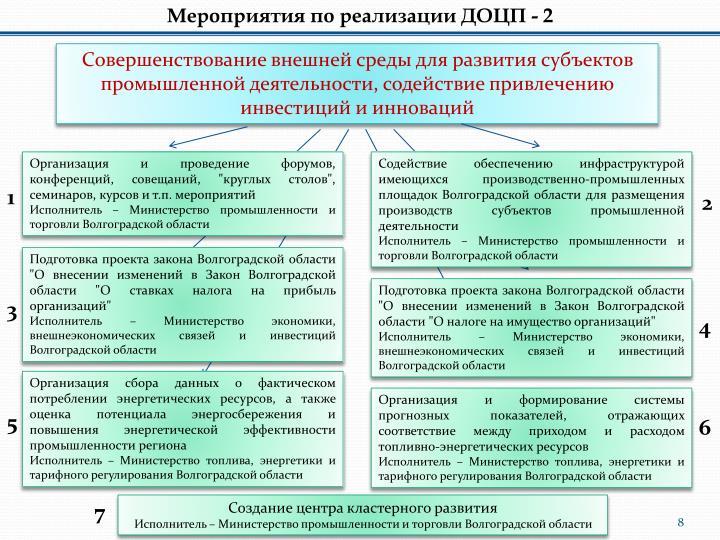 Мероприятия по реализации ДОЦП - 2