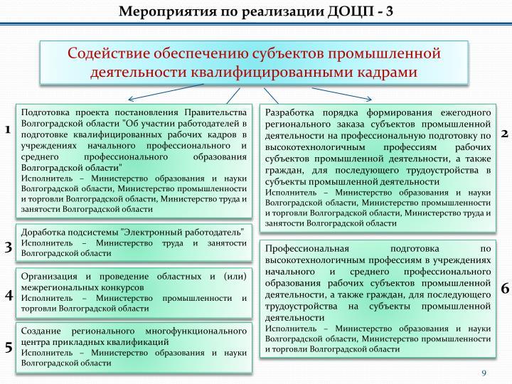 Мероприятия по реализации ДОЦП - 3