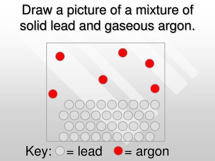 Draw a picture of a mixture of solid lead and gaseous argon