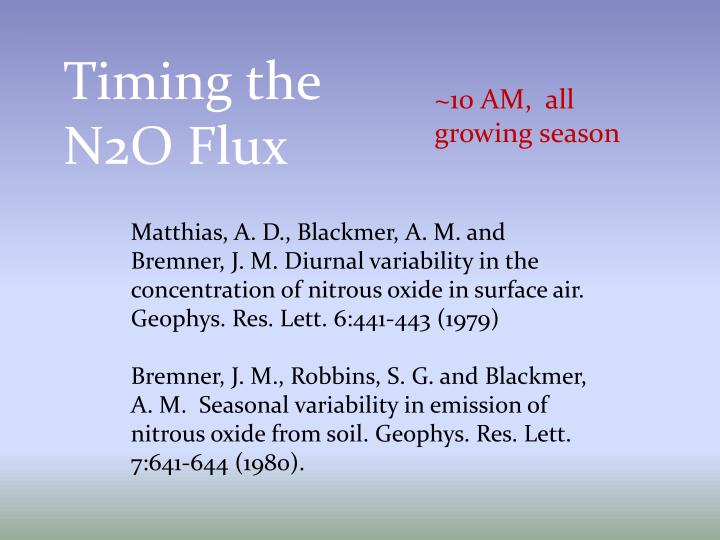 Timing the N2O Flux