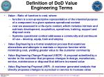 definition of dod value engineering terms