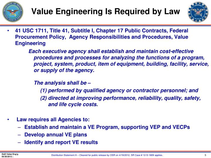 Value Engineering Is Required by Law