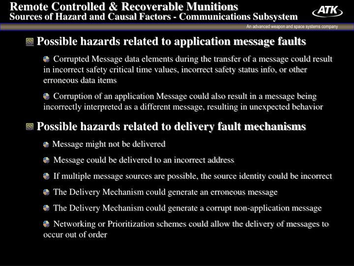 Remote Controlled & Recoverable Munitions