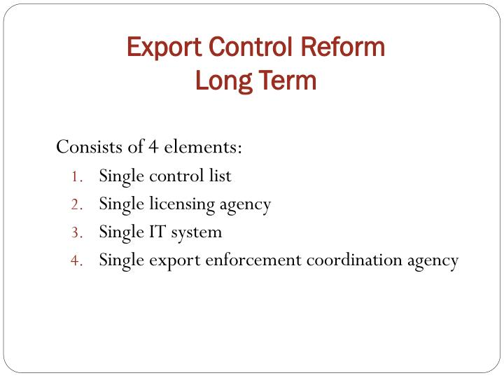Export control reform long term