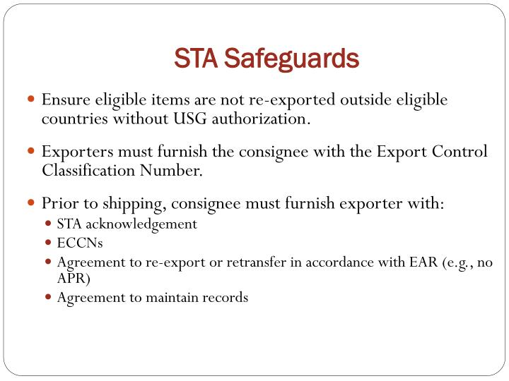 STA Safeguards