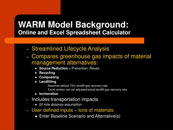 WARM Model Background:
