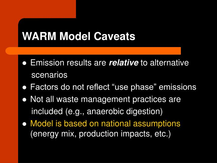 WARM Model Caveats
