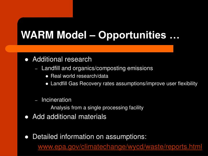 WARM Model – Opportunities …