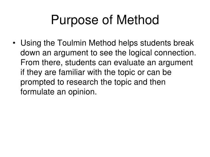 Purpose of Method