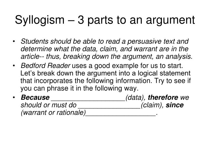 Syllogism 3 parts to an argument