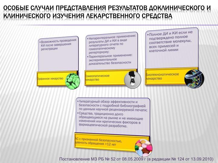 Особые случаи представления результатов доклинического и клинического изучения лекарственного средства