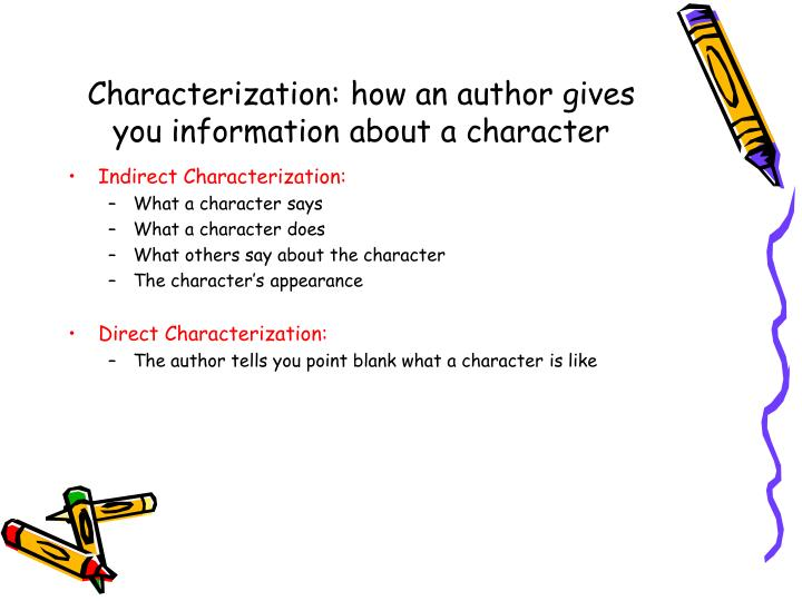 Characterization: how an author gives you information about a character