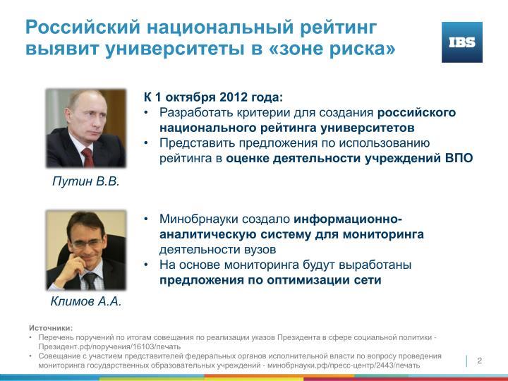 Российский национальный рейтинг выявит университеты в «зоне риска»