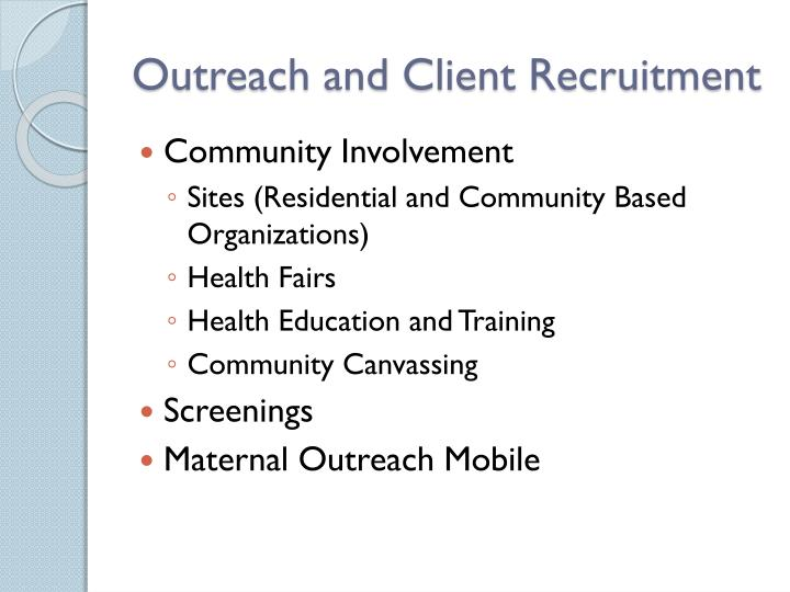 Outreach and Client Recruitment